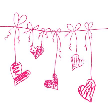 Vector illustration of hearts on strings Vector