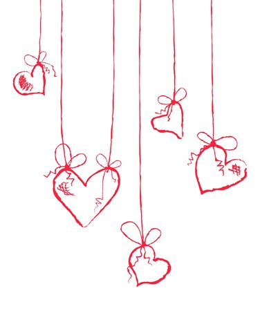 Vector illustration of several hearts hanging  Vector