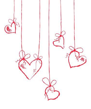 Vector illustration of several hearts hanging  Vector