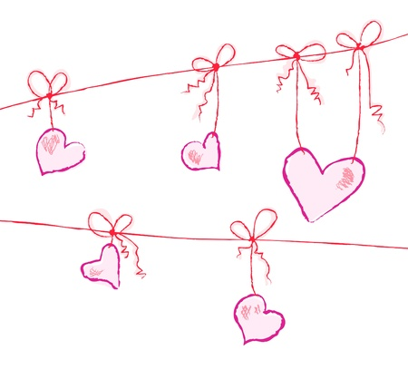 Vector illustration of purple hearts hanging on strings Vector