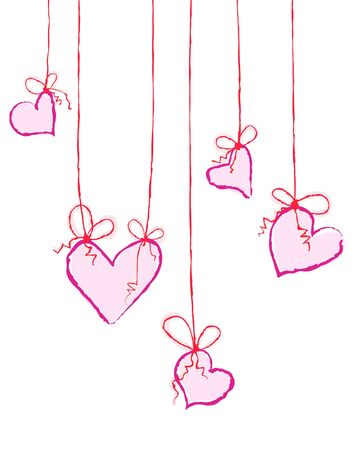 Vector illustration of pink hearts hanging on strings Vector