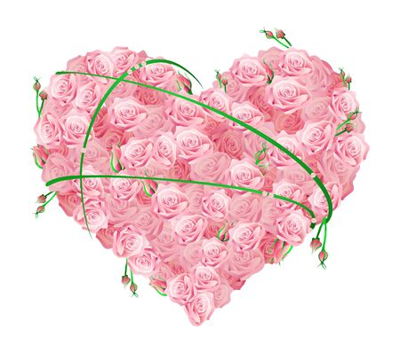 Vector illustration of a huge heart made of roses  Vector