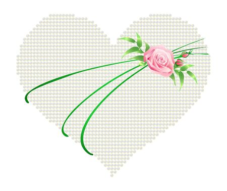corazon: Vector illustration of a heart with a rose