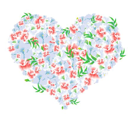 corazon: Vector illustration of a heart of red and blue flowers