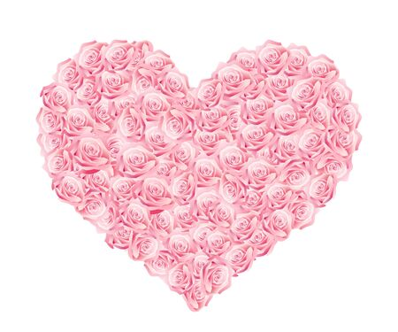 Vector illustration of a heart of pink roses Vector