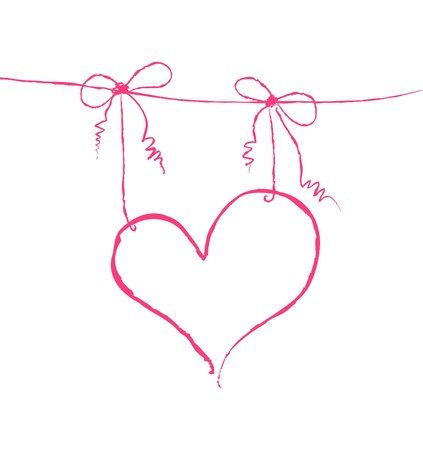 Vector illustration of a heart hanging on strings Vector