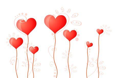Vector illustration of hearts on stalks Vector