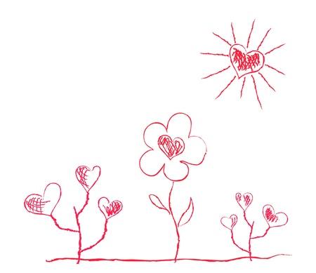 manner: Vector illustration of heart-shaped flowers under sun in childish manner