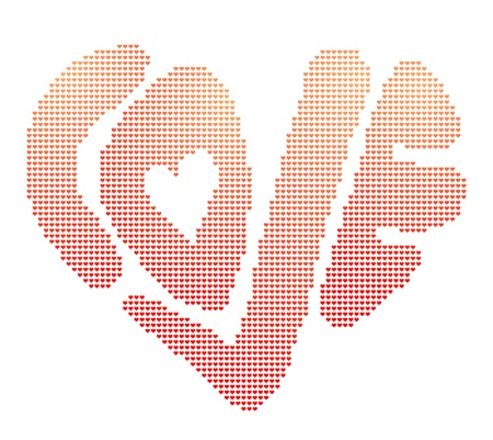 corazon: Vector illustration of heart-shaped word love in digital manner