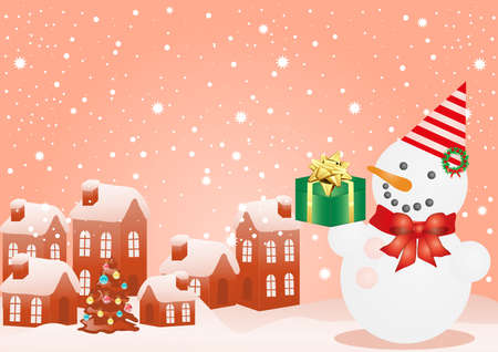 Vector illustration of Christmas houses and snowman Vector