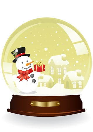Christmas vector of houses and snowman in a yellow sphere Vector