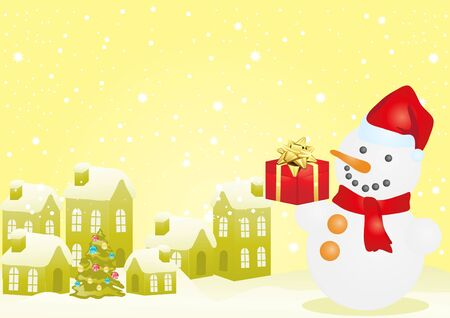 Yellow vector of Christmas houses and snowman Vector