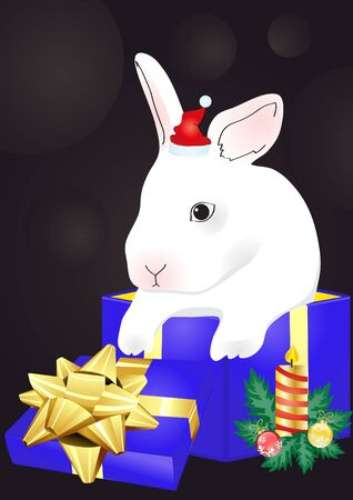 Christmas vector of rabbit sitting in the red giftbox  Vector