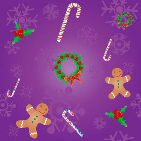 Vector illustration of Christmas seamless background with candies and cookies Stock Vector - 9431528