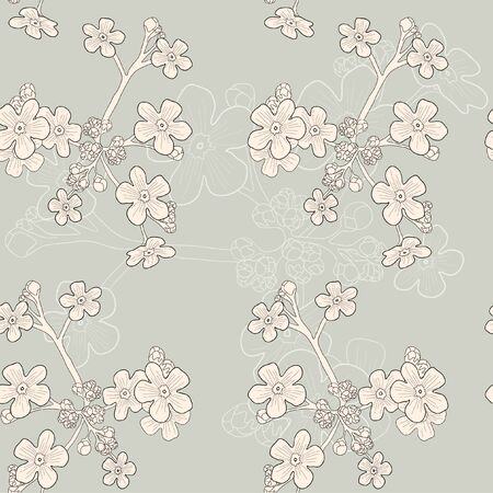 Vector of grey seamless pattern with beige forget-me-nots Vector
