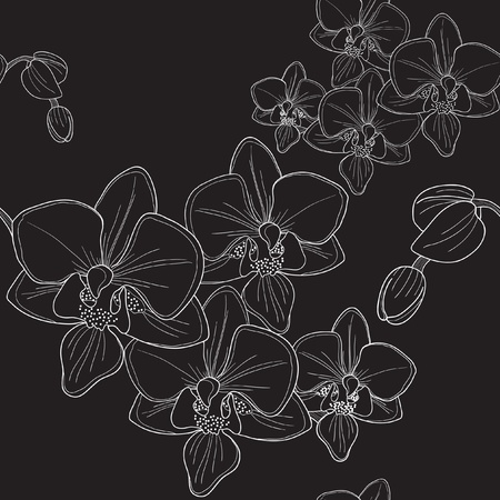 Vector of black seamless pattern with orchid Ilustracja