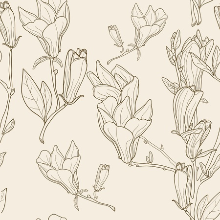 Seamless pattern with magnolias, vector Vector