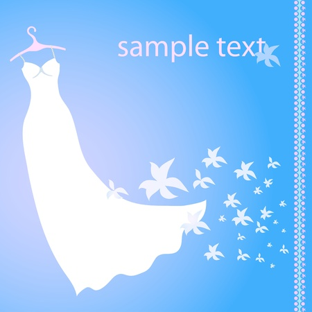 Vector illustration of white wedding dress on a blue background with flowers  Vector