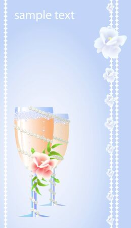 Wedding card of two flute of champagne with flowers  Vector