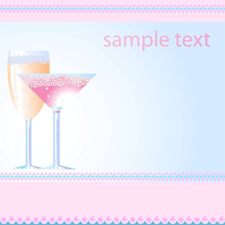 Vector illustration of glasses of champagne and martini   Vector