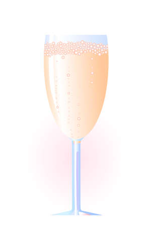 Vector illustration of glass of champagne on a white background  Stock Vector - 9431485