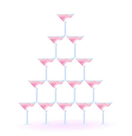 Vektorillustration von Martini-Gläsern in Form des Turms