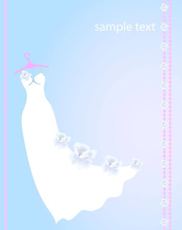 Vector illustration of white dress with flowers for wedding Vector