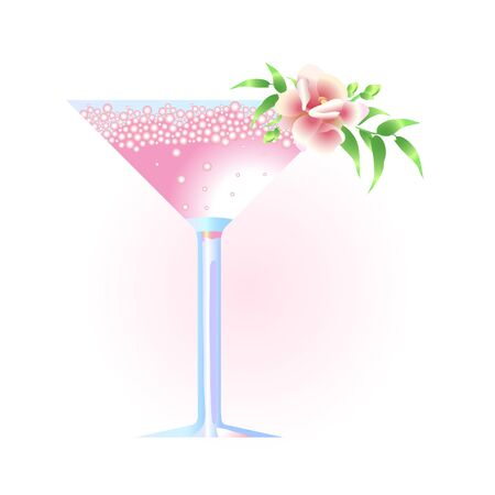 Vector illustration of martini glass with flower