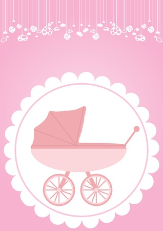 new born baby girl: Vector illustration of pink baby carriage for newborn girl  Illustration