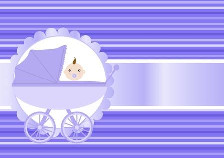 Vector illustration of baby boy sitting in the stroller Vector