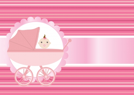 Vector illustration of pink baby carriage for newborn girl Stock Vector - 9431482