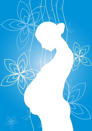 awaiting: Vector illustration of white silhouette of pregnant woman on a blue background with flowers