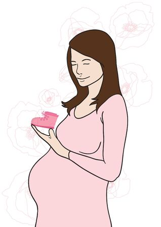 Vector illustration of pregnant lady holding babys bootee