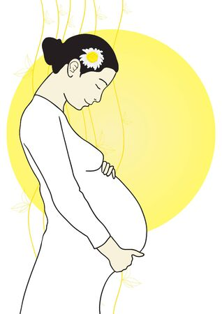 Vector illustration of beautiful pregnant woman on a yellow circle background  Vector
