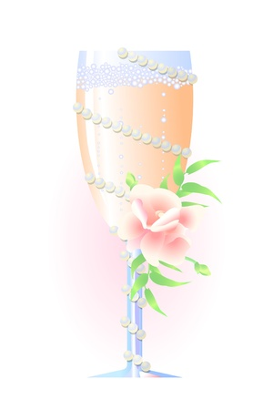 Vector of wedding champagne with flowers and pearls  Vector