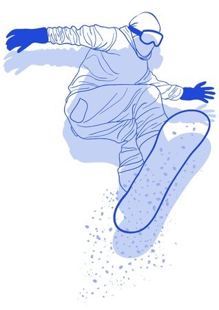 snowboarder jumping: Vector illustration of snowboarder jumping