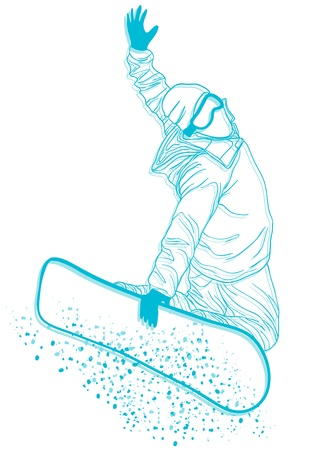 Vector illustration of snowboarder doing extreme trick  Vector