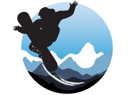 skis: Vector illustration of wintry sporty emblem with snowboarder