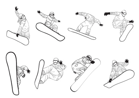 snowboarder jumping: Vector illustration of collection of snowboarders doing different extreme tricks