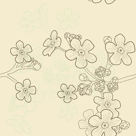 forget: Vector illustration of beige seamless pattern with forget-me-nots Illustration