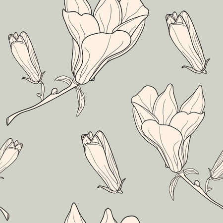 Vector of grey seamless pattern with magnolias Vector