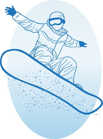 snowboarder jumping: Vector illustration of snowboarder doing extreme trick  Illustration
