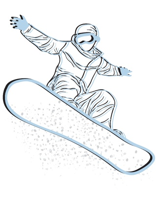 motions: Vector illustration of blue silhouette of snowboarder jumping