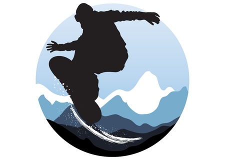 mountain skier: Vector illustration of snowboarder jumping on the background of mountains