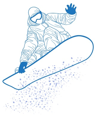 snowboard: Vector illustration of blue silhouette of snowboarder jumping