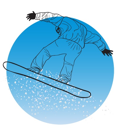 Vector illustration of silhouette of snowboarder on a blue circle  Vector