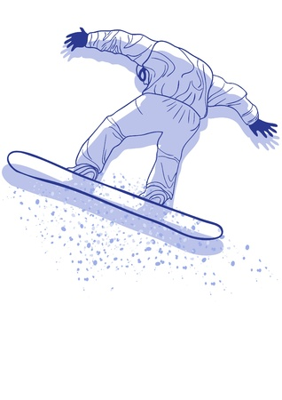 Vector illustration of violet sportsman with snowboard jumping   Vector