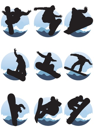 Vector illustration of collection of emblems of snowboarders  Vector
