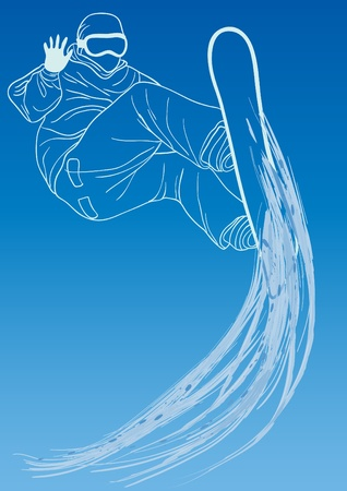 ski jump: Vector illustration of sporty man snowboarding on a blue sky background
