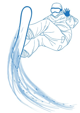 Vector illustration of blue silhouette of snowboarder jumping